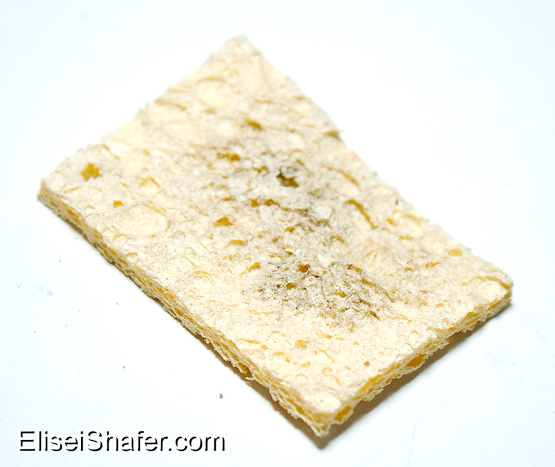 A dry, dirty sponge. It should be clean and moist before use.